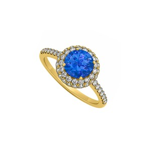 Marco B Sapphire Cubic Zirconia Double Halo Engagement Ring in 14K Yellow Gold