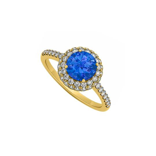 Preload https://img-static.tradesy.com/item/25775117/blue-sapphire-cubic-zirconia-double-halo-engagement-in-14k-yellow-gold-ring-0-0-540-540.jpg