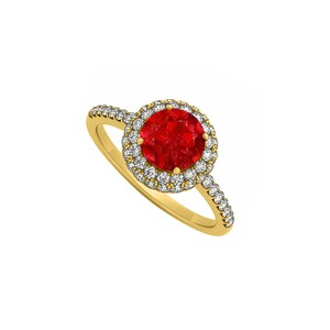 Marco B Double Halo Ruby and Cubic Zirconia Engagement Ring in 14K Yellow Gold