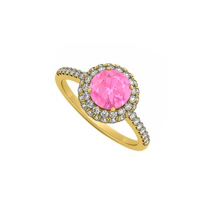 Marco B Double Halo Pink Sapphire and Cubic Zirconia Engagement Ring