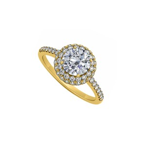 Marco B Double Halo Cubic Zirconia Engagement Ring in 14K Yellow Gold