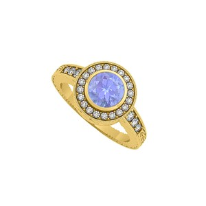Marco B Tanzanite and CZ Halo Engagement Ring 14K Yellow Gold