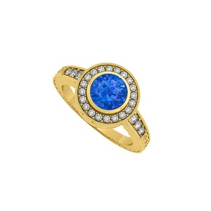 Marco B Sapphire and CZ Halo Engagement Ring in 14K Yellow Gold