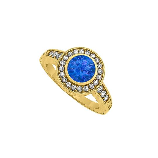 Marco B Sapphire and CZ Halo Engagement Ring in 14K Yellow Gold Image 0