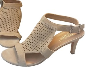 Franco Sarto Suede Perforated Ankle Strap Kitten Nude Sandals