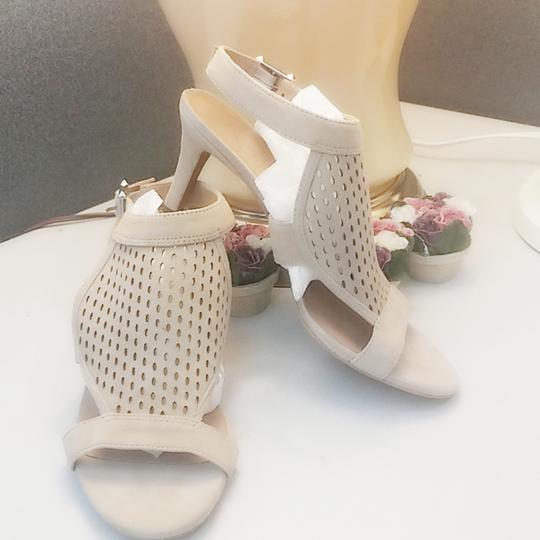 Franco Sarto Suede Perforated Ankle Strap Kitten Nude Sandals Image 1