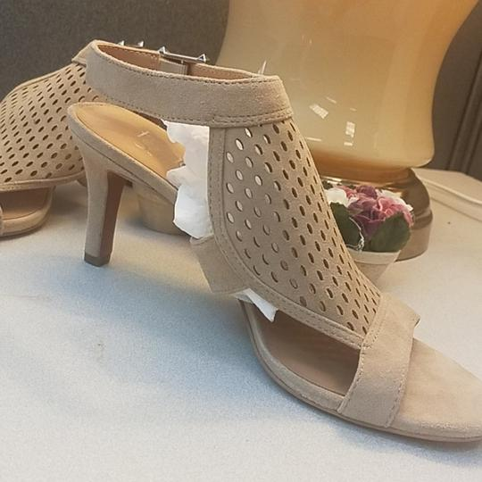 Franco Sarto Suede Perforated Ankle Strap Kitten Nude Sandals Image 2