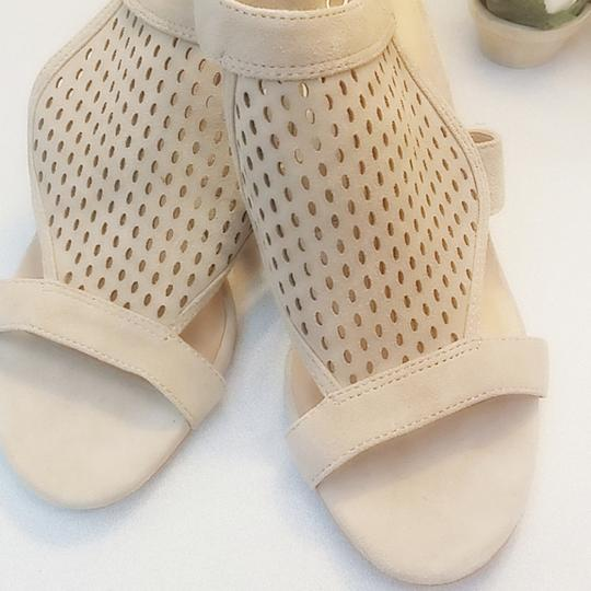Franco Sarto Suede Perforated Ankle Strap Kitten Nude Sandals Image 3
