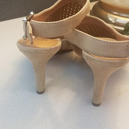 Franco Sarto Suede Perforated Ankle Strap Kitten Nude Sandals Image 5