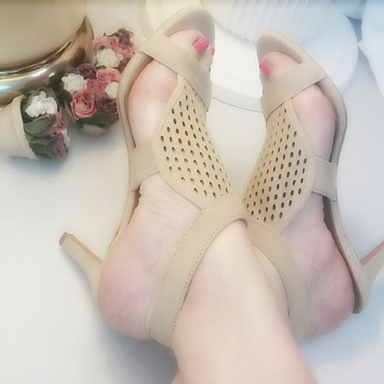 Franco Sarto Suede Perforated Ankle Strap Kitten Nude Sandals Image 6