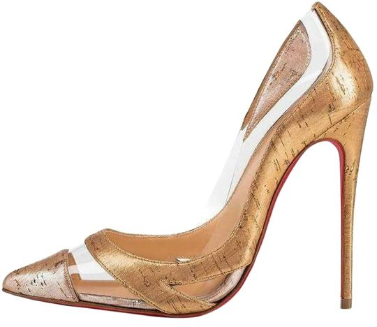 Preload https://img-static.tradesy.com/item/25775169/christian-louboutin-beigegoldsilver-blake-is-back-120-laminated-metallic-cork-pvc-heels-pumps-size-e-0-1-540-540.jpg