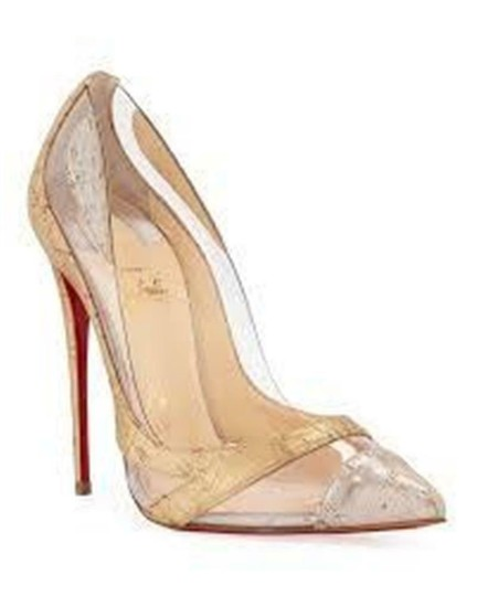 Christian Louboutin Stiletto Pvc Cork Clear Beige/Gold/Silver Pumps Image 11