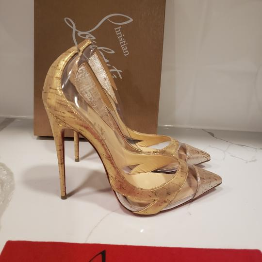 Christian Louboutin Stiletto Pvc Cork Clear Beige/Gold/Silver Pumps Image 3
