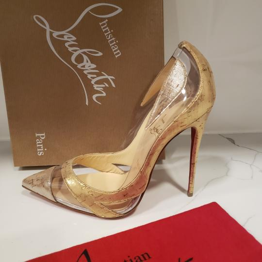 Christian Louboutin Stiletto Pvc Cork Clear Beige/Gold/Silver Pumps Image 5