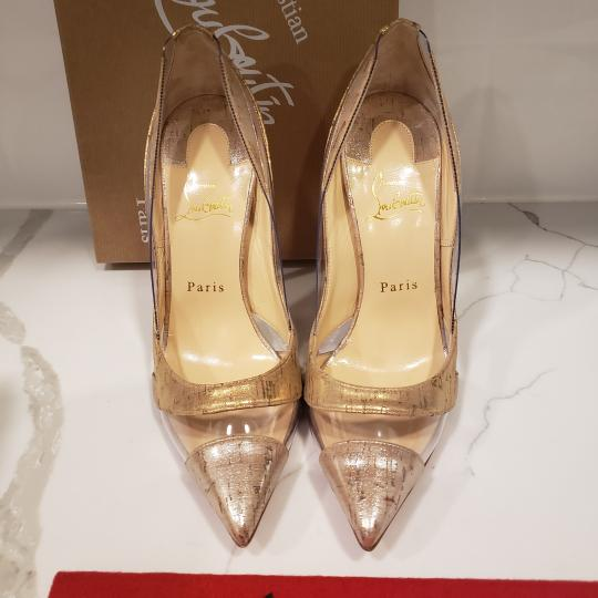 Christian Louboutin Stiletto Pvc Cork Clear Beige/Gold/Silver Pumps Image 6