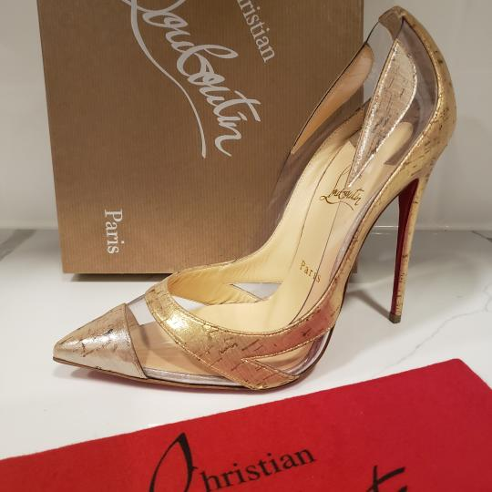 Christian Louboutin Stiletto Pvc Cork Clear Beige/Gold/Silver Pumps Image 7