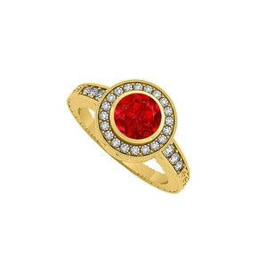 Marco B Bezel Set Ruby CZ Halo Engagement Ring 14K Yellow Gold