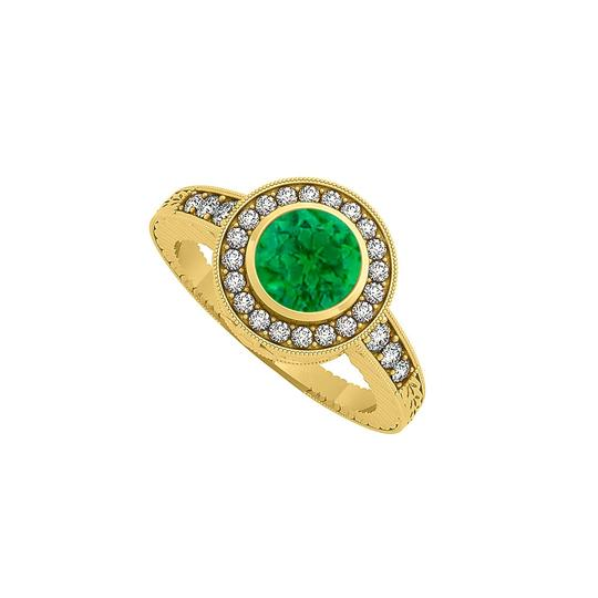 Marco B Bezel Set Emerald CZ Halo Engagement Ring Yellow Gold Image 0
