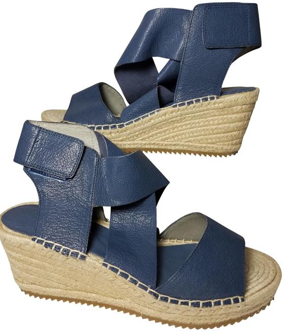 Item - Blue New Willow Leather Jute Wedge Sandals Size US 9.5 Regular (M, B)