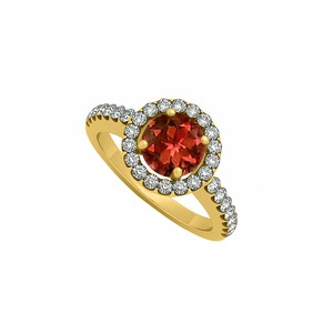 Marco B Halo Engagement Ring January Birthstone Garnet and Cubic Zirconia
