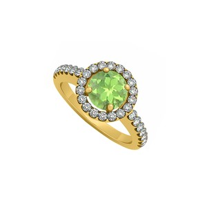 Marco B Peridot August Birthstone with Cubic Zirconia Halo Engagement Ring