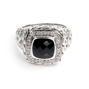 John Hardy Diamond Onyx Sterling Silver Wheat Design Square Top Ring
