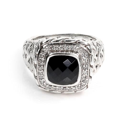 John Hardy Diamond Onyx Sterling Silver Wheat Design Square Top Ring Image 0