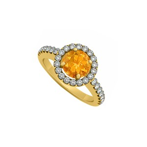 Marco B November Birthstone Citrine and Cubic Zirconia Halo Engagement Ring