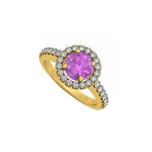 Marco B February Birthstone Amethyst and Cubic Zirconia Halo Engagement Ring 1