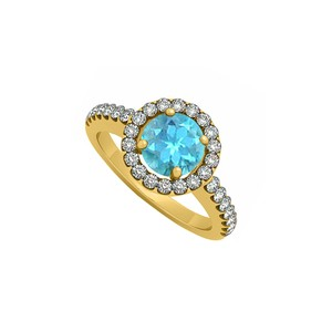 Marco B 14K Yellow Gold December Birthstone Blue Topaz and Cubic Zirconia Halo