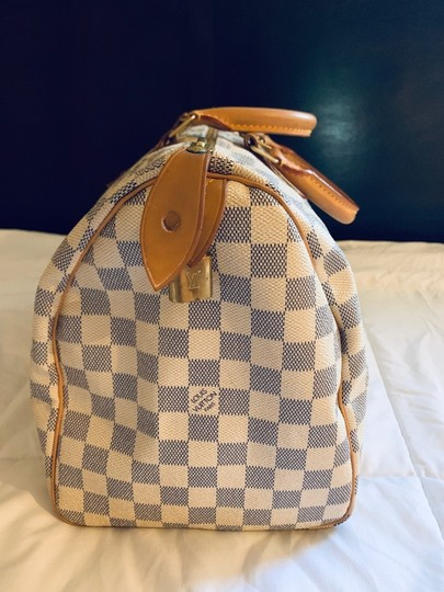 Louis Vuitton Satchel in White and blue checkered Image 4