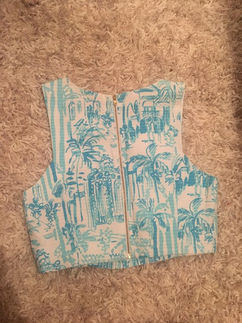 Lilly Pulitzer Crop Melody Top Blue White Image 2