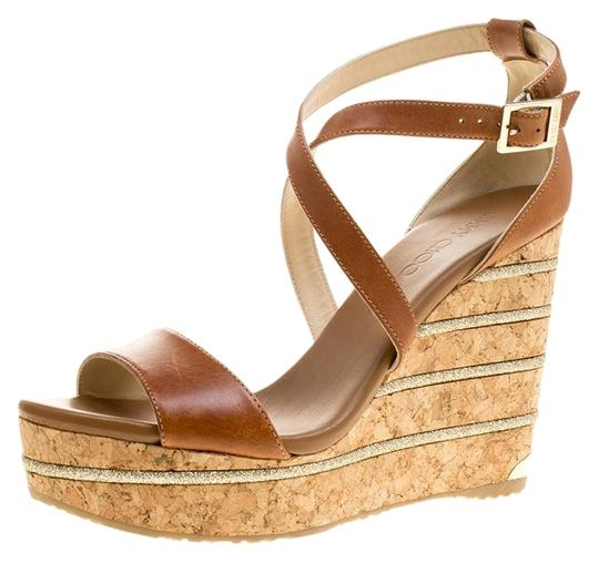 Jimmy Choo Leather Wedge Brown Sandals Image 0