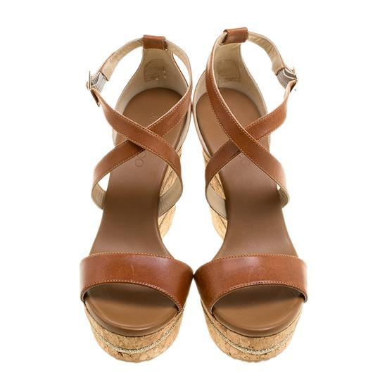 Jimmy Choo Leather Wedge Brown Sandals Image 1