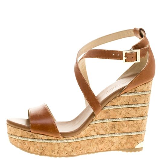 Jimmy Choo Leather Wedge Brown Sandals Image 4
