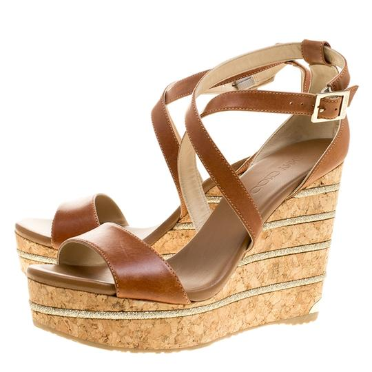 Jimmy Choo Leather Wedge Brown Sandals Image 5