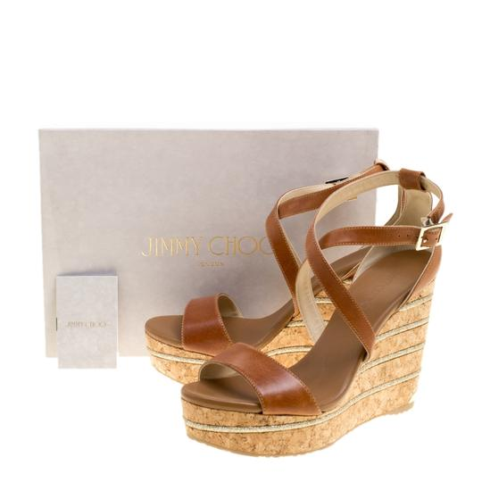 Jimmy Choo Leather Wedge Brown Sandals Image 7