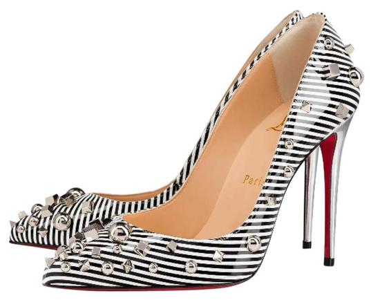 Christian Louboutin Striped Spike White Silver Black Pumps Image 0
