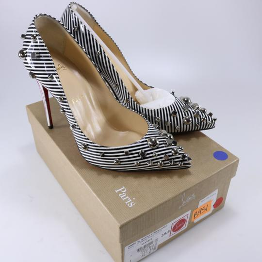Christian Louboutin Striped Spike White Silver Black Pumps Image 1