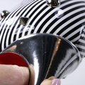 Christian Louboutin Striped Spike White Silver Black Pumps Image 10