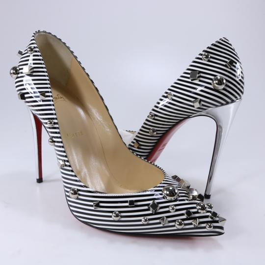 Christian Louboutin Striped Spike White Silver Black Pumps Image 2