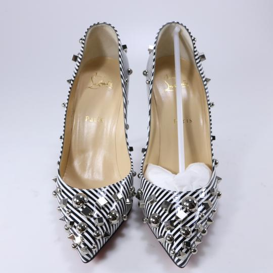 Christian Louboutin Striped Spike White Silver Black Pumps Image 3