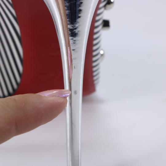 Christian Louboutin Striped Spike White Silver Black Pumps Image 5