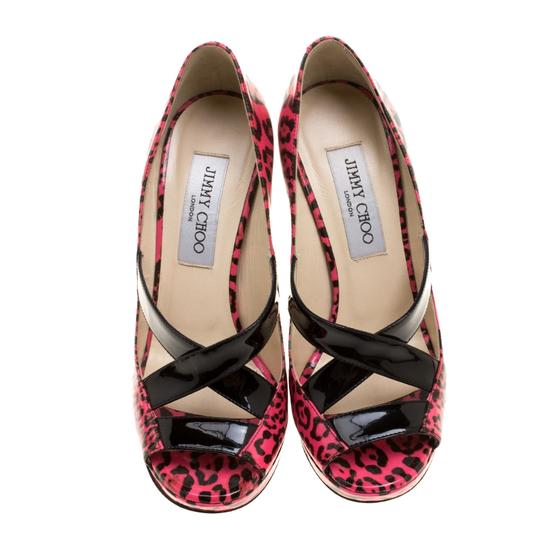 Jimmy Choo Leopard Print Patent Leather Platform Pink Pumps Image 1