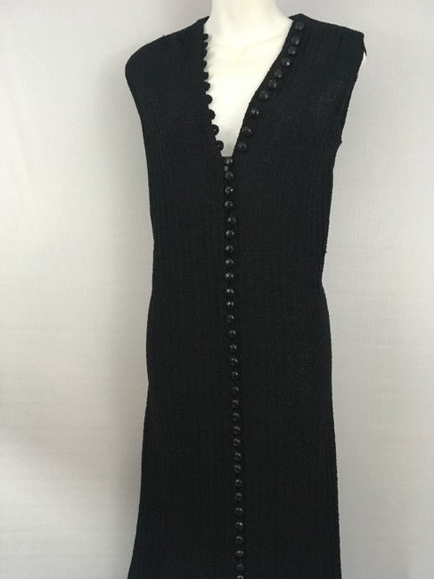 black w/black buttons Maxi Dress by Goldworm Vintage Sweater Dress/Duster Image 2