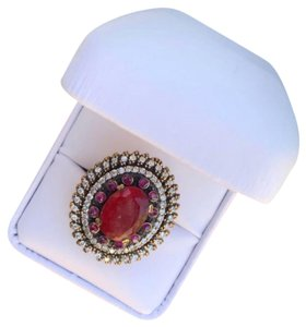 Royal House Of You Vintage Dreamcatcher Exquisite Ruby Emerald Stunning Solid Sterling Silver Ring 8
