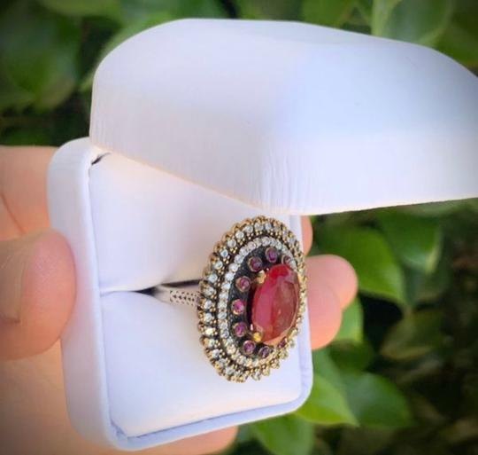 Royal House Of You Vintage Dreamcatcher Exquisite Ruby Emerald Stunning Solid Sterling Silver Ring 8 Image 1
