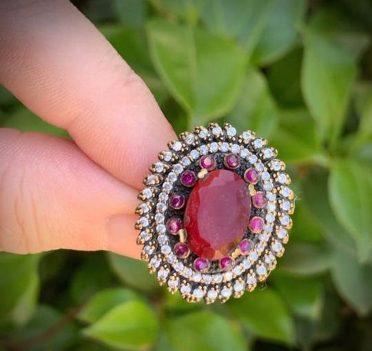 Royal House Of You Vintage Dreamcatcher Exquisite Ruby Emerald Stunning Solid Sterling Silver Ring 8 Image 2