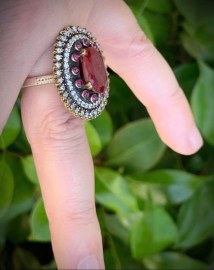 Royal House Of You Vintage Dreamcatcher Exquisite Ruby Emerald Stunning Solid Sterling Silver Ring 8 Image 5