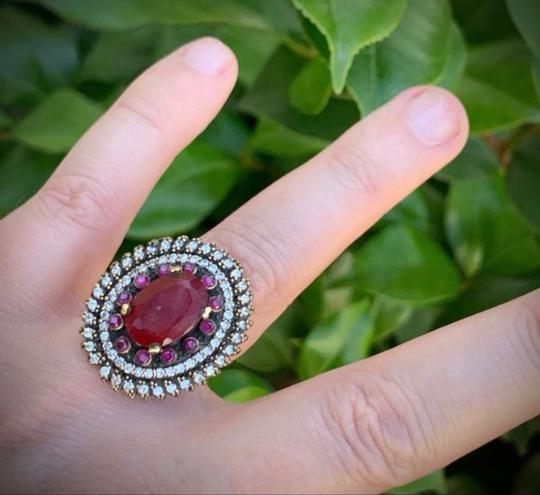 Royal House Of You Vintage Dreamcatcher Exquisite Ruby Emerald Stunning Solid Sterling Silver Ring 8 Image 8